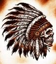 Indian skull vector illustration Royalty Free Stock Photo
