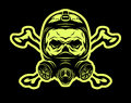 Skull wearing a gas mask and crossbones. Royalty Free Stock Photo