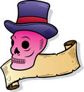 Skull wearing a top hat tattoo style illustration Royalty Free Stock Photography