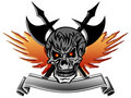 Skull with Wings Axe and Banner Stock Photo