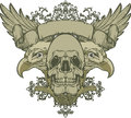 Skull with wings and double-headed eagle, hand-dra Stock Photos