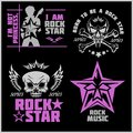 Skull and wings for rock music festival - logo, illustration, t shirt printing on a dark background