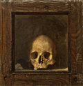 Skull in wooden reliquary Royalty Free Stock Images
