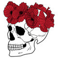 Skull and wreath of poppies Royalty Free Stock Photos