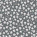 Skulls and bones seamless pattern vector doodle illustration Royalty Free Stock Images