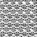 Skulls and bones. Vector hand drawn cute seamless pattern.