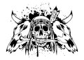 Skulls bull and skull Indian Royalty Free Stock Photography