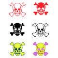 Skulls and crossbones red black white Stock Photos