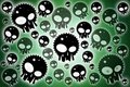 Skulls dark green background Stock Image