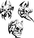 Skulls of devils devil set black and white vector illustrations Stock Photos