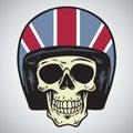 Skulls With England Motorcycle Helmet Vector Illustration