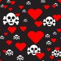 Skulls and Hearts on Black Seamless Pattern