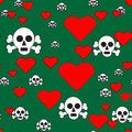 Skulls and Hearts on Green Seamless Pattern