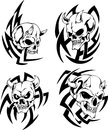 Skulls with horns devil set of black and white vector illustrations Stock Photos
