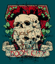 Skulls over doom city vector format Stock Image