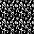 Skulls seamless background with crossed bones pattern black and white silhouette tile Royalty Free Stock Photography