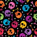 Skulls seamless pattern Stock Photo