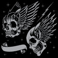 Skulls and wings in old school tattoo style line work with the background color vector for use Royalty Free Stock Photography