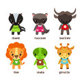Skunk and giraffe, raccoon and snake, lion, bison