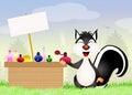 Skunk sells perfumes illustration of Royalty Free Stock Image