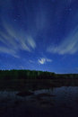Sky above the clouds night pond Royalty Free Stock Photography