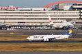 Sky air line landing at tokyo international airport Royalty Free Stock Photo