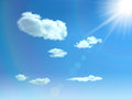Sky background blue with clouds sun and glare vector Royalty Free Stock Photo
