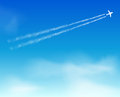 Sky background cloud airplane with and clouds Royalty Free Stock Photo
