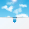 Sky background with a sheet of white paper and bookmark eco Stock Images