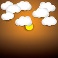 Sky background white paper clouds evening sky with sun the graphic illustration consists of orange and Stock Photography