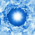 Sky with beautiful cloud and sunshine. Religion concept heavenly sky background. Sunny day, divine shining heaven, light, peaceful