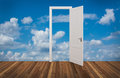 Sky behind the opening door Royalty Free Stock Photo