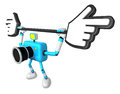 That sky blue camera holding a large cursor indicate a direction create d robot series Stock Images