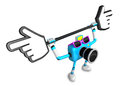 That sky blue camera holding a large cursor indicate a direction create d robot series Royalty Free Stock Images