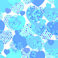 Sky blue heart with polka dot heart seamless pattern on white background. Vector