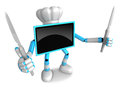 Sky blue tv character chef in both hands to hold a knife go on foot walking create d television robot series Royalty Free Stock Photography