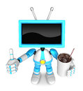 Sky blue tv chef mascot the right hand guides and the left hand is holding a cola create d television robot series Royalty Free Stock Image