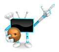 Sky blue tv chef mascot the right hand guides and the left hand is holding a potato create d television robot series Royalty Free Stock Photography