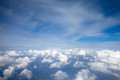 Sky blue view above the clouds Royalty Free Stock Photography