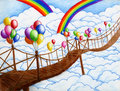 Sky bridge with balloons 2 Royalty Free Stock Photo