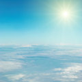 Sky and clouds heaven sun view from the above Royalty Free Stock Images