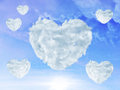 Sky with clouds shaped as heart love concept blue Royalty Free Stock Image
