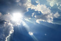 Sky with clouds - sunbeams Royalty Free Stock Photo