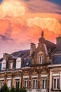 Sky is on fire impressive in luxembourg city Royalty Free Stock Photography