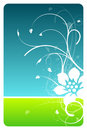 Sky and grass floral design card Stock Image