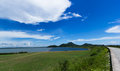 Sky with green fields Reservoir for agriculture Royalty Free Stock Photo