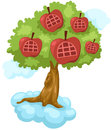 Sky high apple tree house on cloud Royalty Free Stock Photo