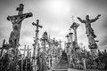 Sky and hill of crosses near Siauliai, Lithuania. Royalty Free Stock Photo