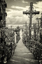Sky and hill of crosses near siauliai lithuania in the city europe Royalty Free Stock Photos