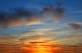 Sky landscape with beautiful sunset evening Stock Photography